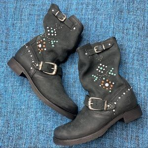 NWOT Frye Veronica Stone Studded Slouch Boot Black